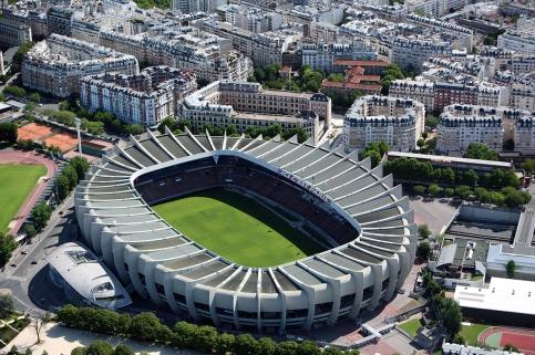 This aerial picture taken on July 14, 2009 in Paris shows the Parc des Princes stadium. AFP PHOTO LOIC VENANCE