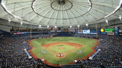 Apr 3, 2016; St. Petersburg, FL, USA; A general view of Tropicana Field where the Tampa Bay Rays play the Toronto Blue Jays. Toronto Blue Jays defeated the Tampa Bay Rays 5-3. Mandatory Credit: Kim Klement-USA TODAY Sports